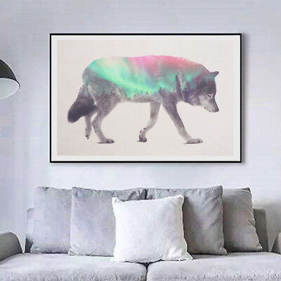 Canvas Wall Art Painted Wolf Oil Painting for Living Room Bedroom Home Decor