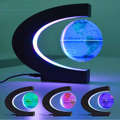 Maglev Floating Globe with LED Lights Abstract Magnetic Levitation w/ World Map