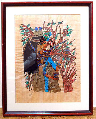 Vintage Hand Painted Egyptian Ancient Art Papyrus Paper Framed Trees Girls Rare