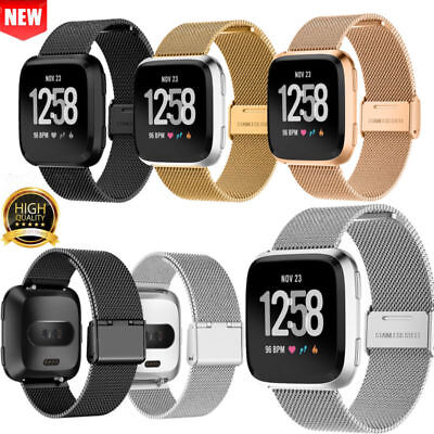 Metal Milanese Mesh Loop Strap Stainless Steel Wrist Band For Fitbit Versa Watch
