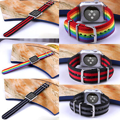 2018 Pride Edition Woven Nylon Band Rainbow Stripe For Apple Watch 42/38mm