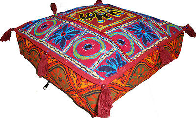 Indian Embroidery Work Floor Cushion Cover Ottoman/floor Square Eid Seat Cover