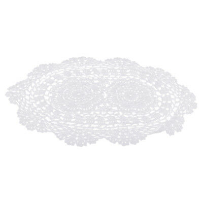 Vintage White Hand Crochet Cotton Lace Doilies Oval Table Runner 11 x 15inch