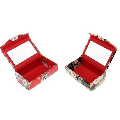 Floral Solid Lipstick Case Holder Carry Bag With Mirror & Snap-On Closure