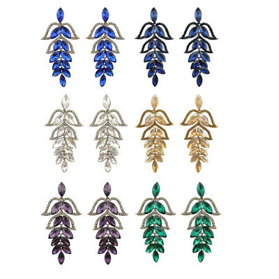 Charming Crystal Leaf Ear Stud Wedding Party Jewelry Women Party Accessory