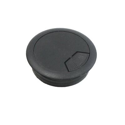 50mm Drill Hole Dia Desk Wire Cord Cable Grommet Cover Safety Table Office Black