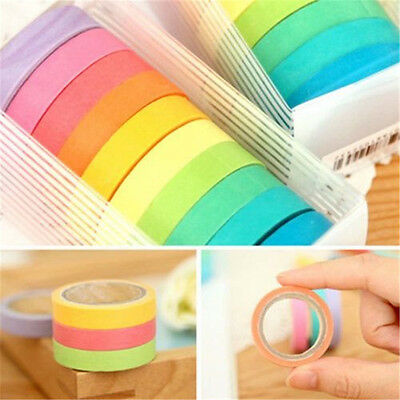 10/20Pcs Set DIY Decor Washi Rainbow Sticky Paper Masking Adhesive Tape