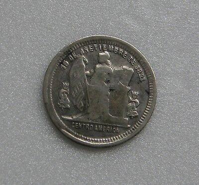Honduras Rare Coin 25 Centavos Silver .835 1902 24mm Variety: Double Letters