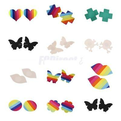 Sexy Womens Disposable Rave Pasties Adhesive Nipple Cover Sticker Bra Rainbow