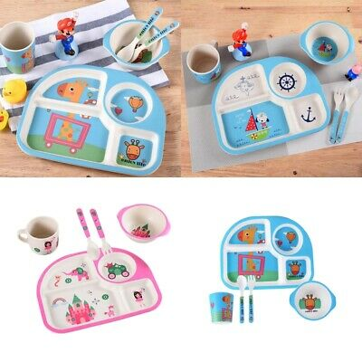 Cartoon Baby Non-Spill Feeding Toddler Bowl Divided Dinner Plate Flatware