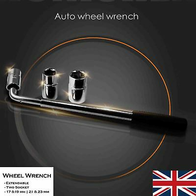 Telescopic Wheel Brace Socket Nut Tyre Wrench 17 19 21 & 23mm HEAVY DUTY Car Van