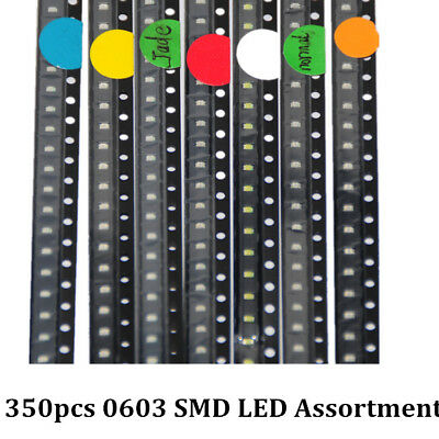 350pcs SMD LEDs Diode 0603 Assorted Light Emitting Diodes 7colors X 50pcs each