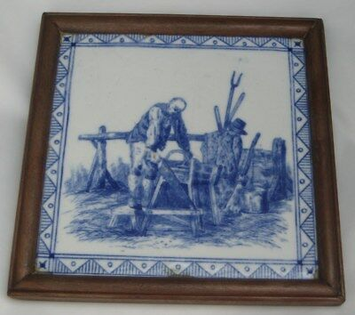 ANTIQUE MINTON BLUE & WHITE TILE trades occupations series 1880S man with saw