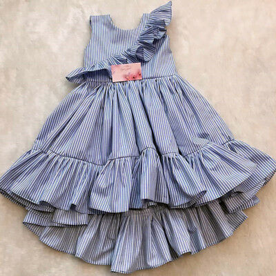 AU Toddler Kid Baby Girl Summer Striped Princess Party Pageant Ruffle Tutu Dress