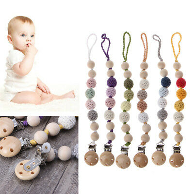 Baby Wooden Beaded Pacifier Holder Clip Nipple Teether Kids Dummy Strap Chain