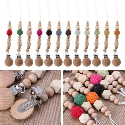Natural Baby Pacifier Clip Soother Clips Dummy Holder Safe Beech Wooden Teether