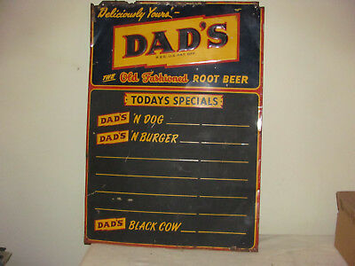 Vintage Dad's Old Fashioned Root Beer Advertising Metal Sign Menu Board