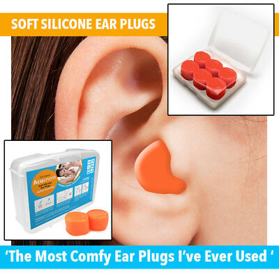 Acusnore Soft Silicone Ear Plugs Comfortable Adjustable Sleeping Aid Moldable UK