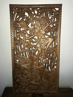 Balinese Carved Wooden Panel In Teak