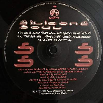 """12"""": Silicone Soul - The Answer / Right On, Right On - Soma Recordings Ltd. - SO"""
