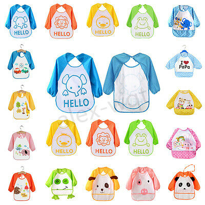 UK Lovely Boys Girls Baby Bibs with Sleeves Feeding Saliva Towel Dribble Bibs
