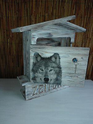 "POST,- Briefkasten, Mail Box, vintager, Motiv "" WOLF"", shabby"
