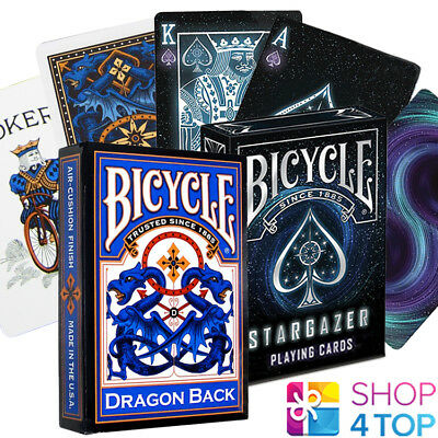 2 Decks Bicycle 1 Dragon Back Blue And 1 Stargazer Playing Cards New