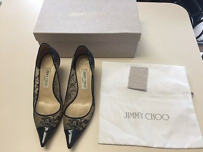 Jimmy Choo Shoe Navy Heals Small Leather Pointy Toe Amika Box Lace Pet Smoke Fre