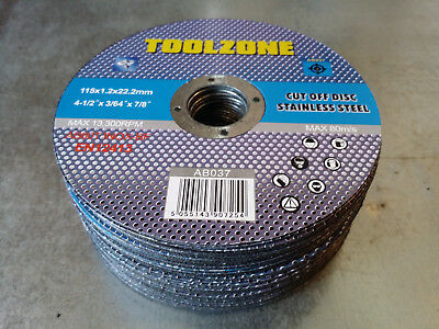 """115mm 4.5"""" Thin Stainless Steel Cut Off Angle Grinder Discs Blades Inox Metal"""