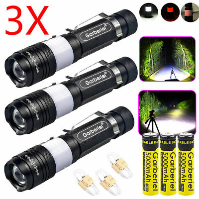 50000Lumens LED T6 Zoomable USB Rechargeable Flashlight Torch +18650 +Charger