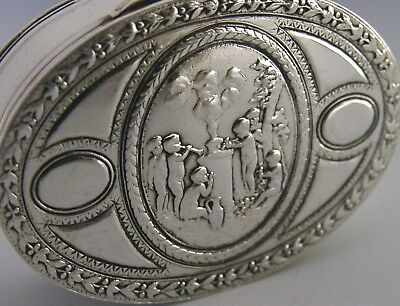 FRENCH SOLID SILVER SNUFF or PILL BOX CHERUBS PLAYING ANTIQUE c1900