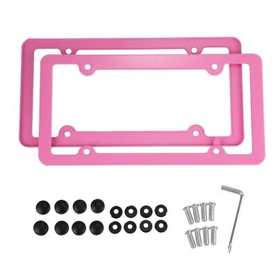 Pink Aluminum alloy License Plate Frame 2 Pieces with Screw Caps 4 Holes X3X4
