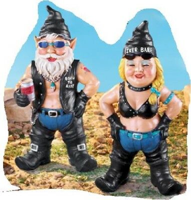 Garden Gnome Set Bikers Yard Decor For Men Women Funny Statues Biker Dude