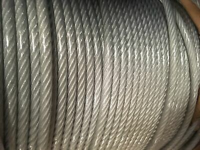 """1/8""""-3/16"""" Vinyl Coated Galvanized Aircraft Cable Steel Wire Rope 7x19-500 Feet"""
