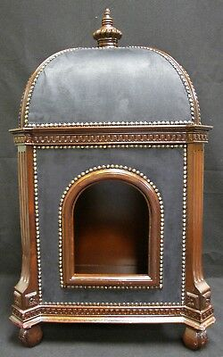 Marie Antoinette Precious Palace Custom Doghouse in Walnut and Black Suede