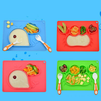 Cute Silicone Happy Mat Baby Kids Suction Table Food Tray Placemat Plate QP