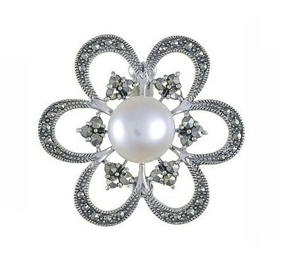 Esse Marcasite Sterling Silver Bold Floral Freshwater Pearl and Marcasite Brooch