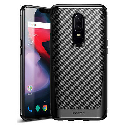 For OnePlus 6 Poetic Slim Fit TPU Bumper Case Cover-【Karbon Shield】 Black