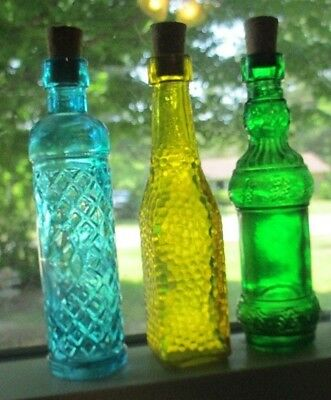 """Three Small Mini Glass Colored Bottles Perfect for window sill 3 3/4"""" tall"""