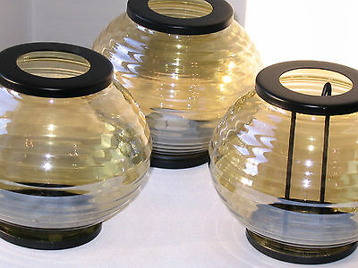 Set of 3 Vintage Chinese Yellow Glass Black Metal Candle Votive Holder / Lantern