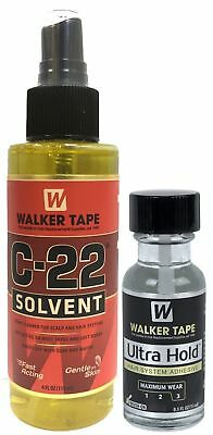 Walker Tape C-22 Solvent Remover 4 Oz + Ultra Hold Small Adhesive 0.5 Oz / 15ml