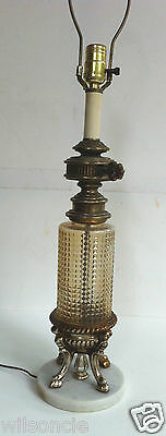 Vintage Shabby Chic Table Lamp Amber Lucite Glass Marble Antique Brass