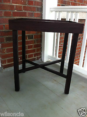 Mahogany Wood Folding Rectangular Removable Serving Tray Table