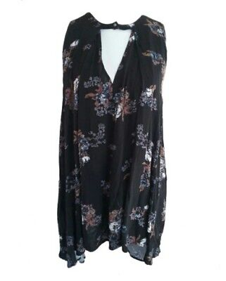 9512632b17c Free People Sleeveless Tree Swing Printed Top Black Floral Women's Small S  NEW!