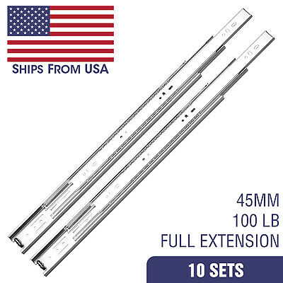 "10 Sets 22"" Inch Full Extension 100 lb lbs Ball Bearing Drawer Slides Glide 45mm"