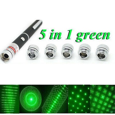 5 in 1 New Powerful Green Laser Pointer Pen 1mw 532nm Lazer Puntero Caneta 1PC