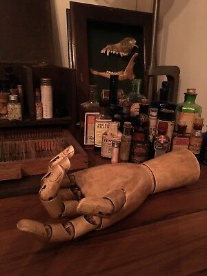 Wooden Mannequin Articulated Hand Form Antiqued Finish  Free Delivery Display