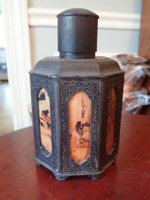 Antique Chinese Bronze Tea Caddy Octagonal w Hand Painted Panels Signed