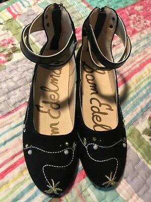 ac36fb1849c9b0 NWOT Sam Edelman Sz 4 Black Felicia Josie Embellished Holiday Tinsel Flat  Shoes