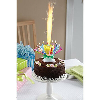 2 TWO Amazing Singing Happy Birthday Candle Spinning Flower Plays Music
